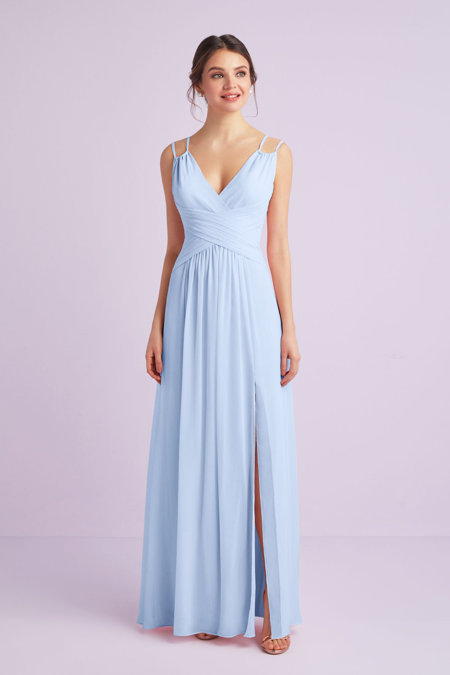 Plunging V-Neck Crinkle Chiffon Bridesmaid Dress