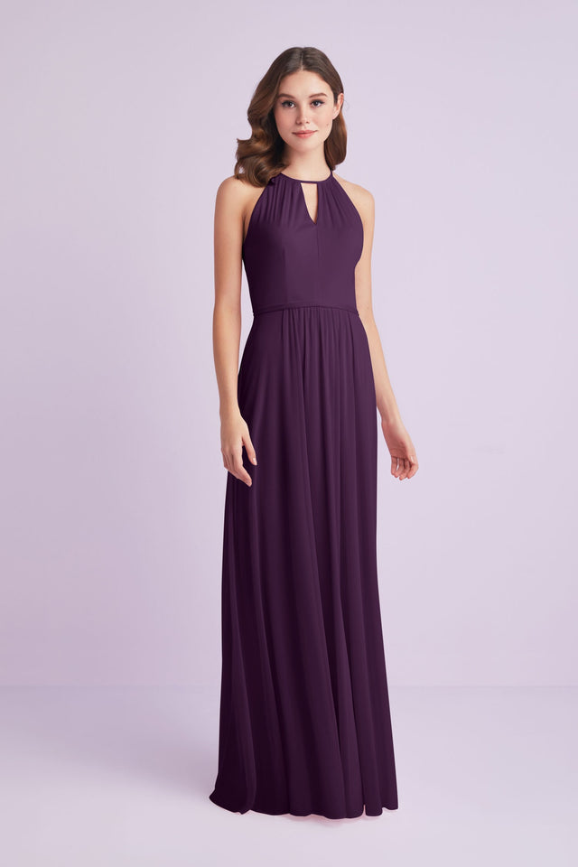 High-Neck Long Mesh Bridesmaid Dress with Keyhole