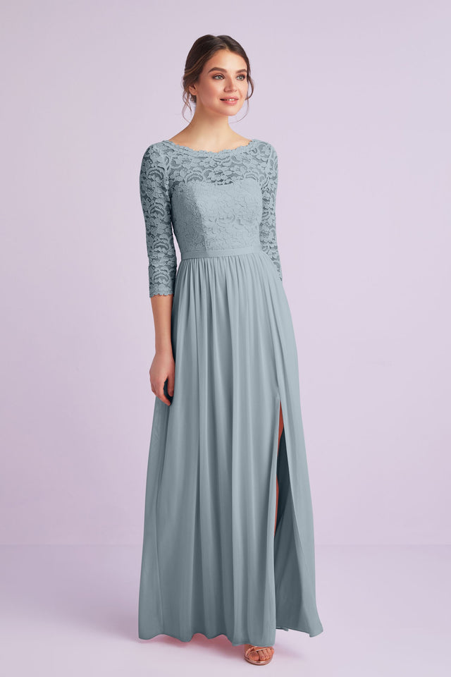 3/4-Sleeve Illusion Lace and Mesh Bridesmaid Dress