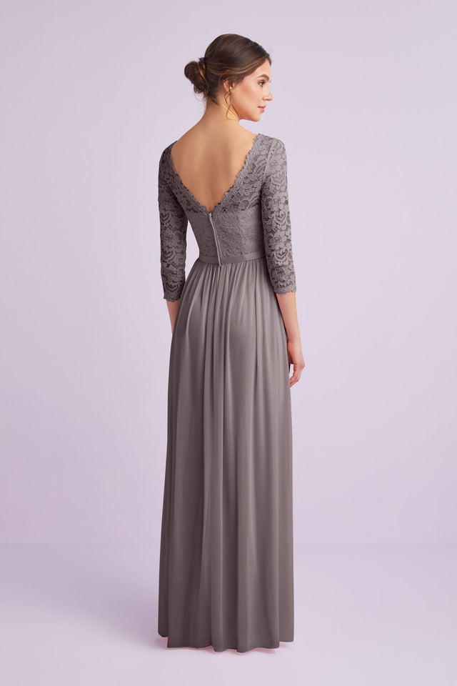 Buy 34 Sleeve Illusion Lace and Mesh Bridesmaid Dress by