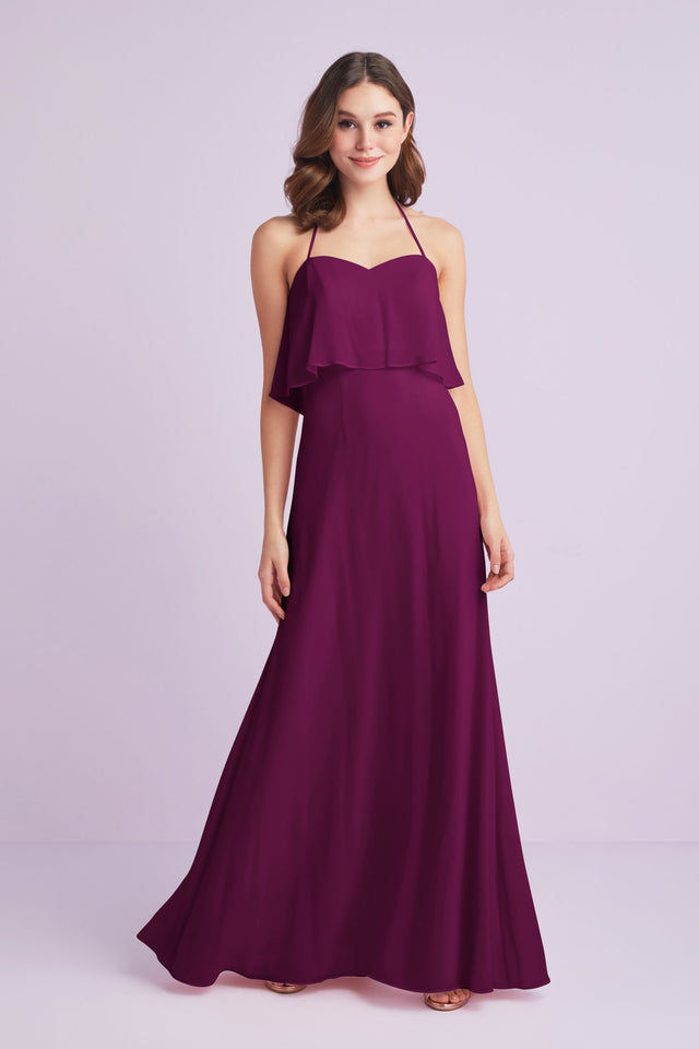 Flounced Crinkle Chiffon Halter Bridesmaid Dress