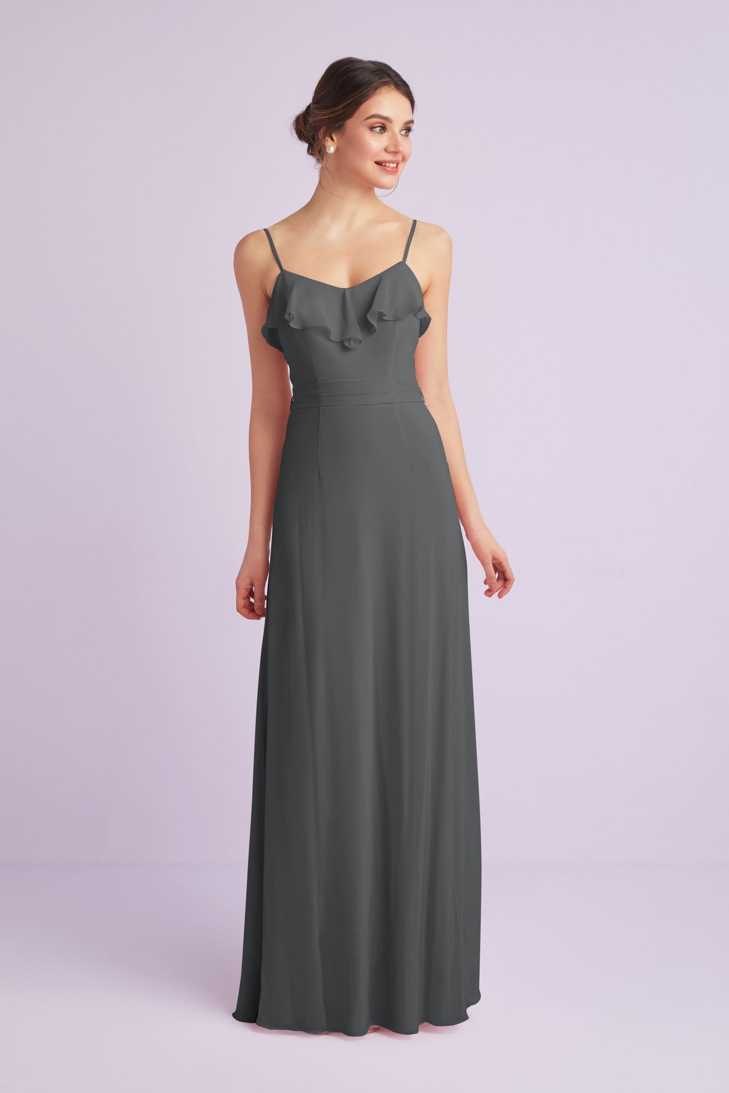 Ruffled Crinkle Chiffon Bridesmaid Dress
