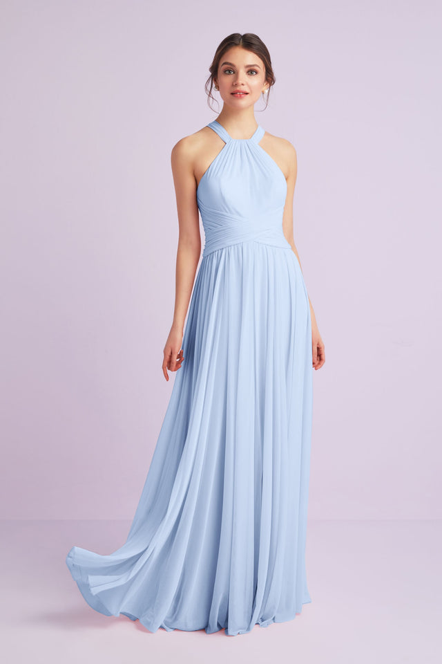 High-Neck Mesh Bridesmaid Dress with Full Skirt