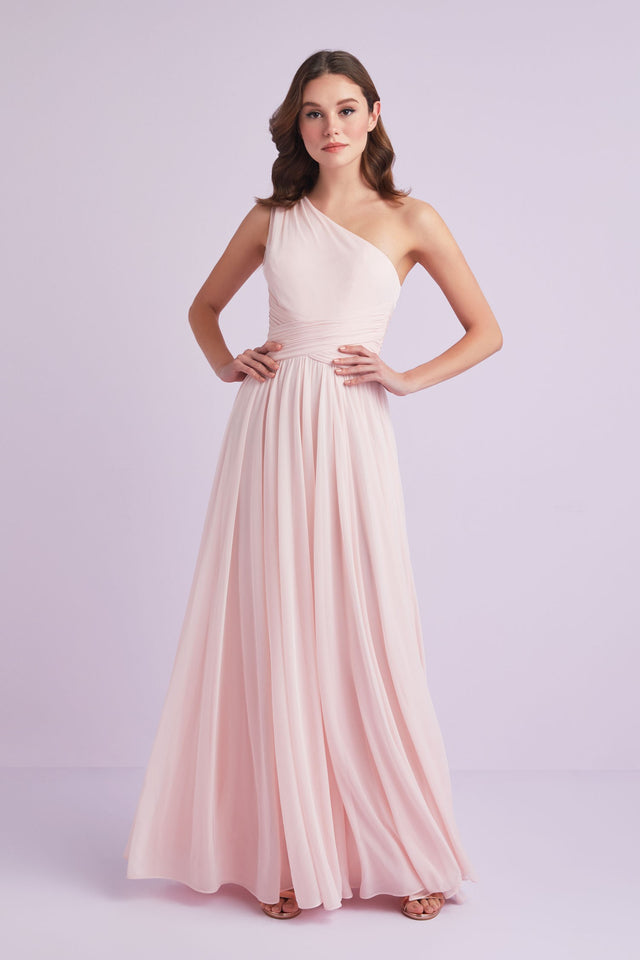 One-Shoulder Mesh Bridesmaid Dress with Full Skirt