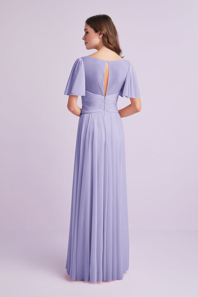 Flutter Sleeve Crisscross Mesh Bridesmaid Dress