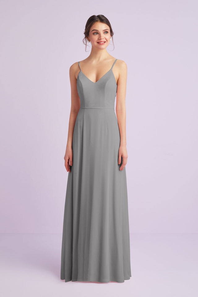 Chiffon V-Neck Spaghetti Strap Bridesmaid Dress