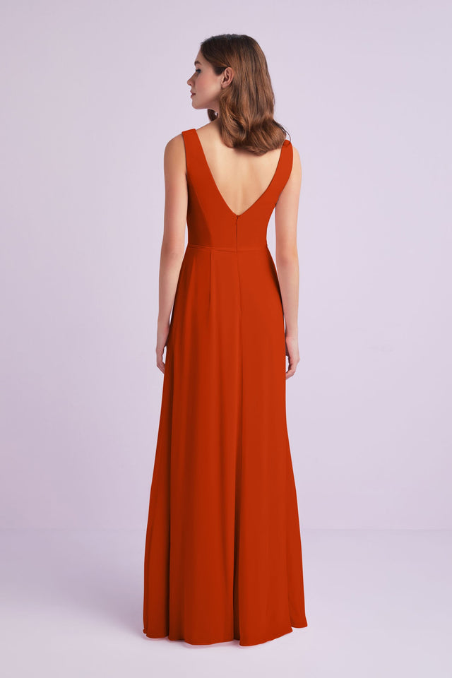 Chiffon V-Neck Tank Bridesmaid Dress