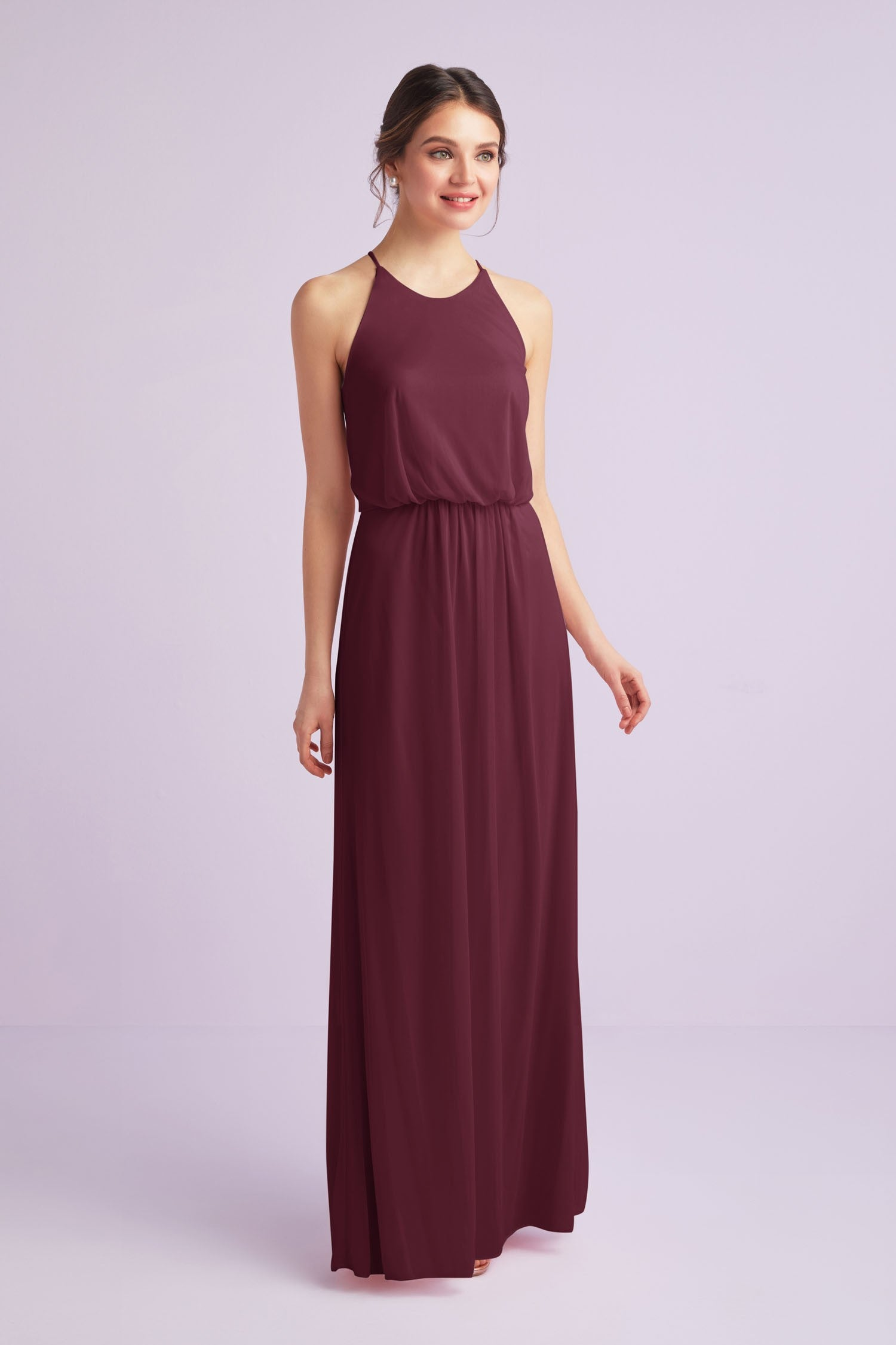 Blouson High-Neck Mesh Bridesmaid Dress