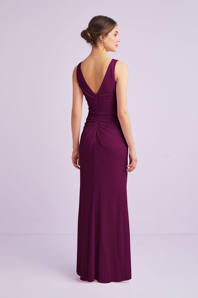 High-Neck Ruched Mesh Bridesmaid Dress