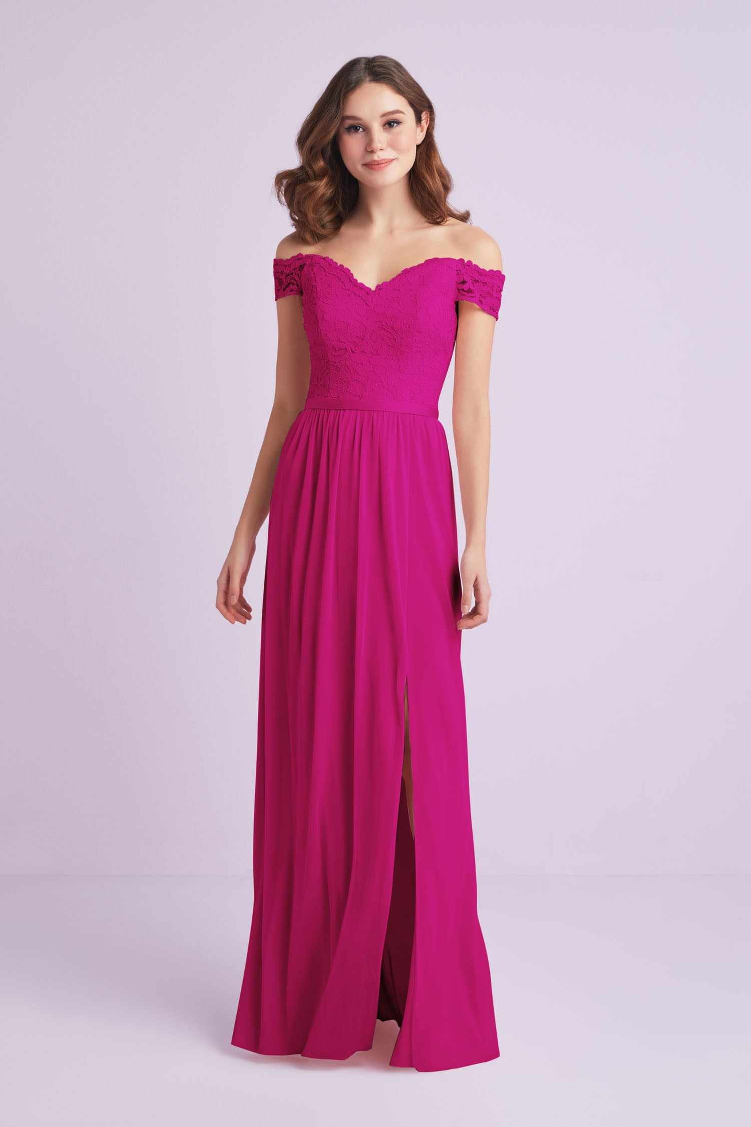 36b672a31cfb Off-the-Shoulder Lace and Mesh Bridesmaid Dress-F19950