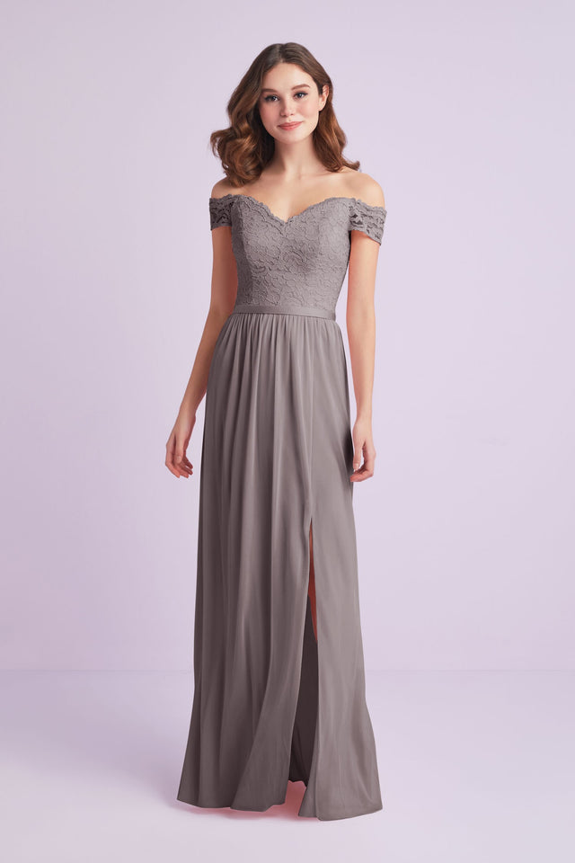 Off-the-Shoulder Lace and Mesh Bridesmaid Dress
