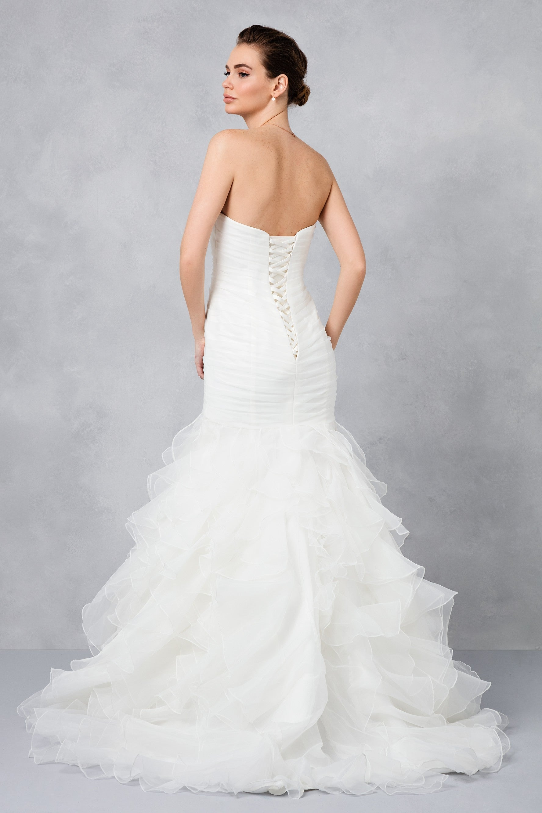 Ruffled Organza Skirt With Embroidered And Beaded Bodice: Ruffled Organza Plus Size Mermaid Wedding Dress-WG3832