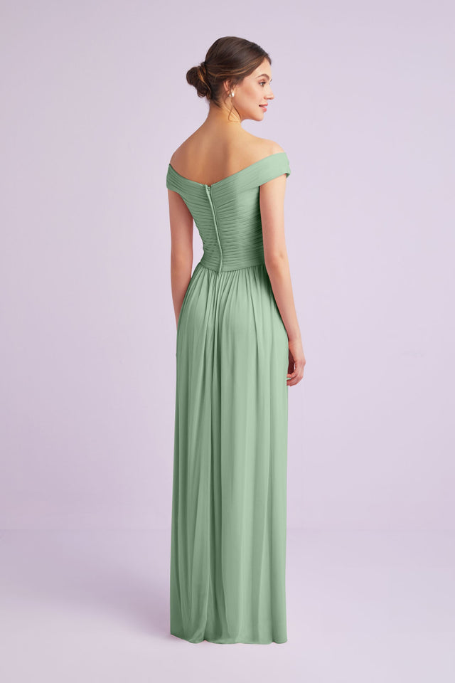 Crisscross Off-the-Shoulder Mesh Bridesmaid Dress