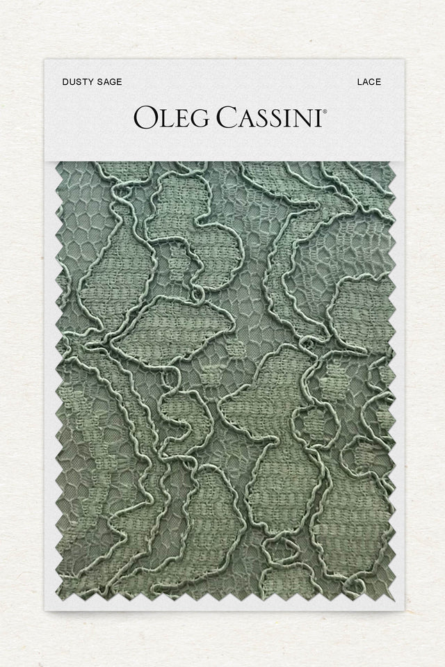 Dusty Sage Lace Fabric Swatch
