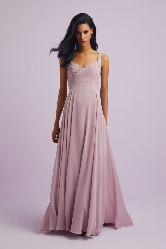 Ruched Chiffon with Beaded detail and open back