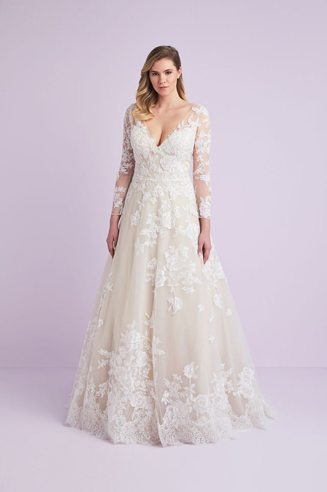 V-neck long sleeved ball gown with floral appliqué detail