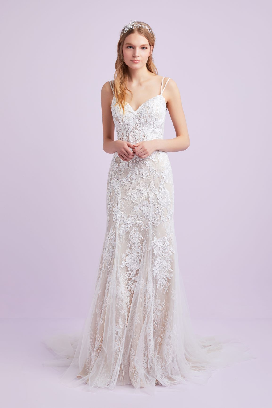 Lace and champagne fitted gown