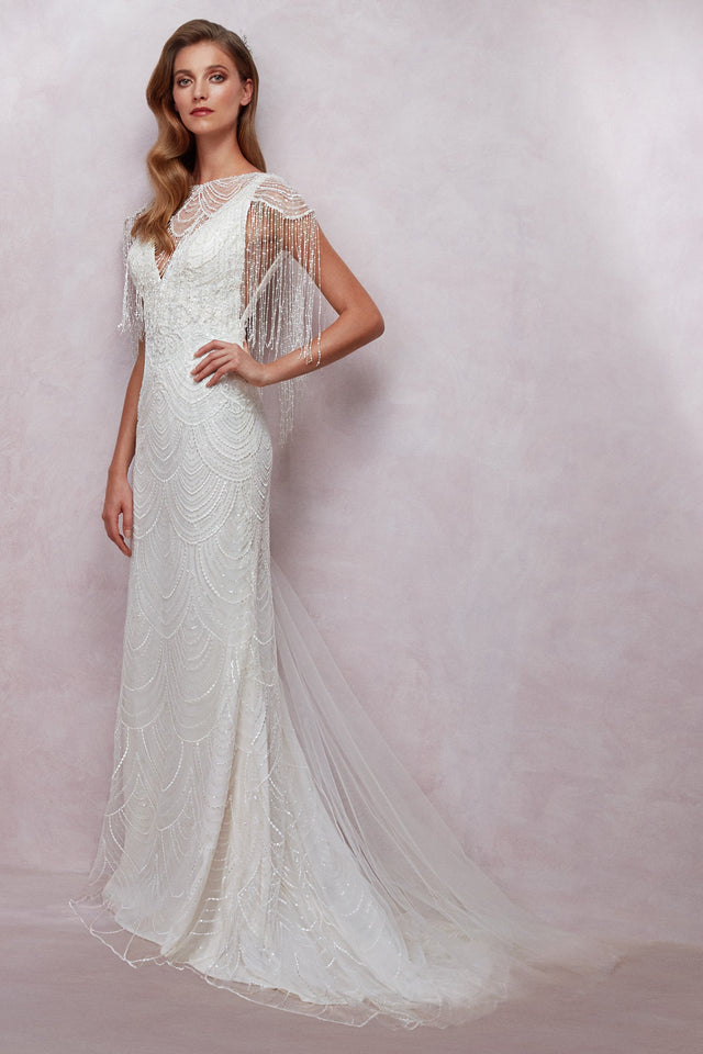 Fully beaded v-neck gown