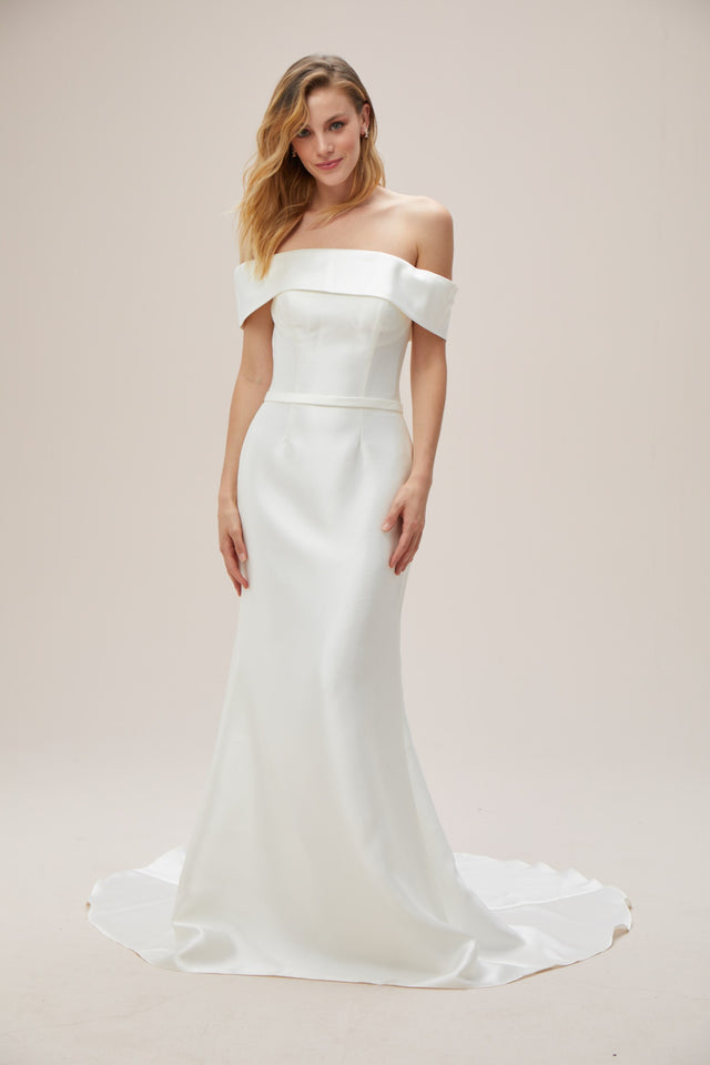 Off-the-Shoulder Mikado Trumpet Wedding Dress