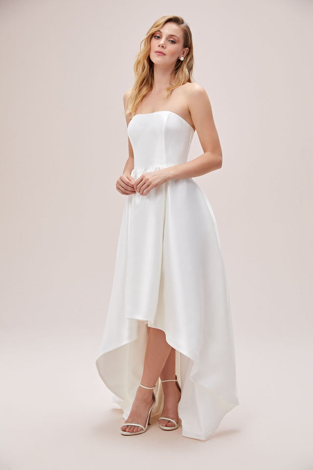 Mikado High-Low Plus Size Wedding Dress