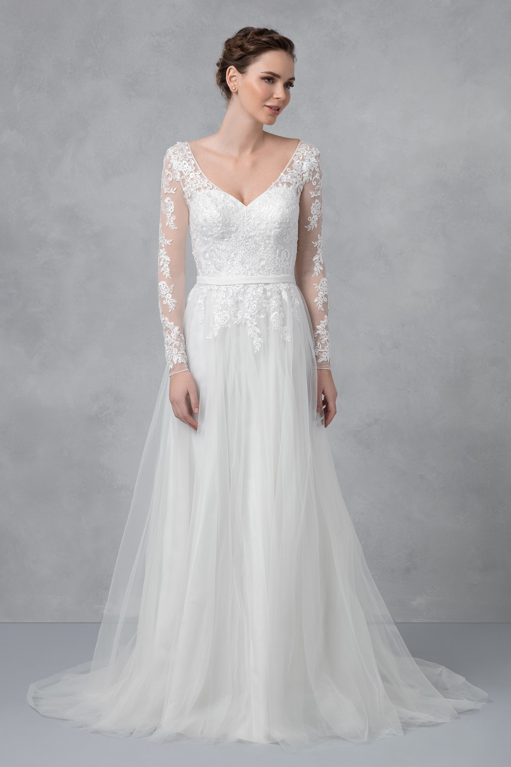 Long Sleeve Wedding Dress With Low Back-WG3831