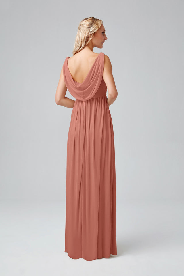 Long Mesh Dress with Cowl Back Detail