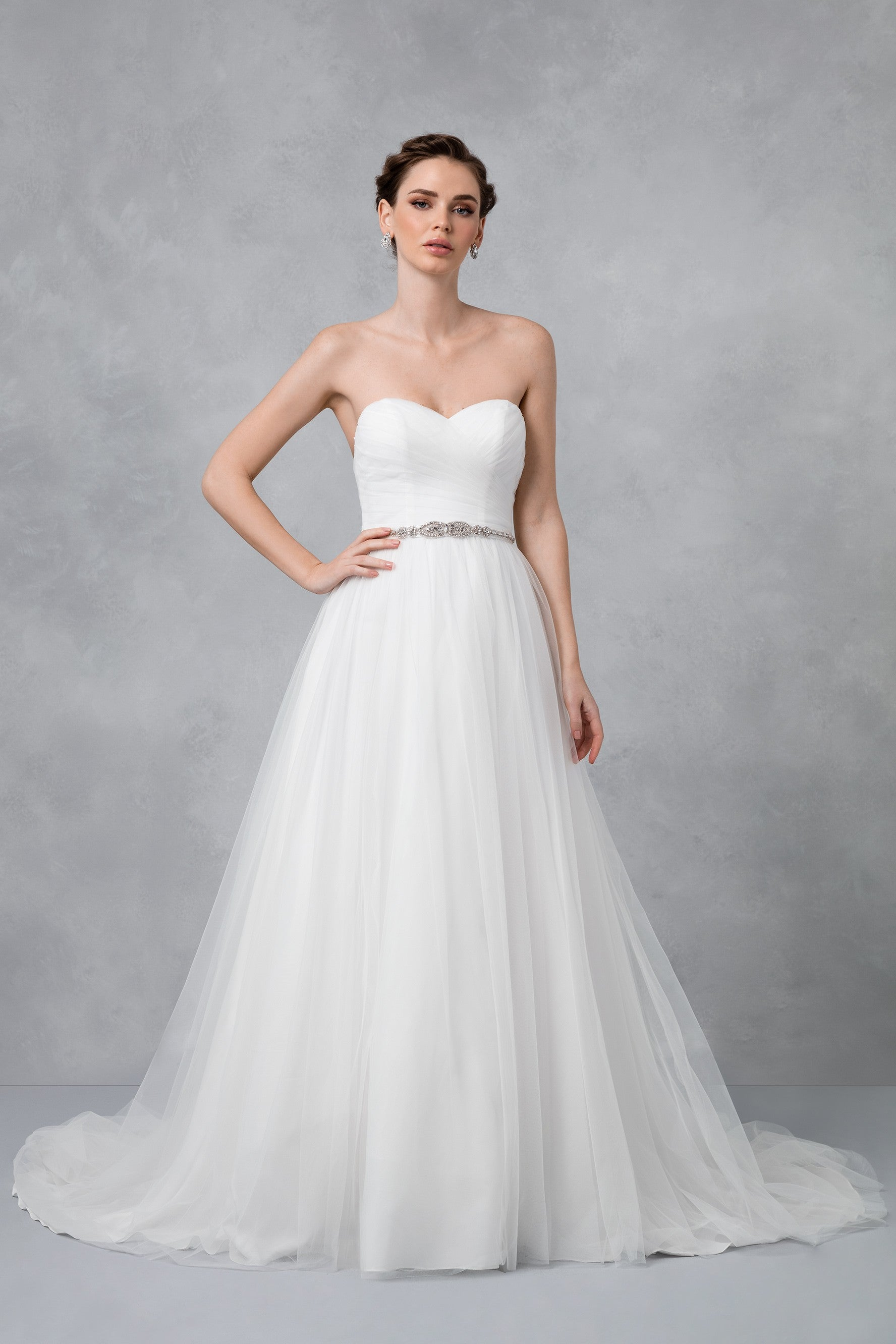 Tulle Wedding Dress with Pleated Bodice-WG3802