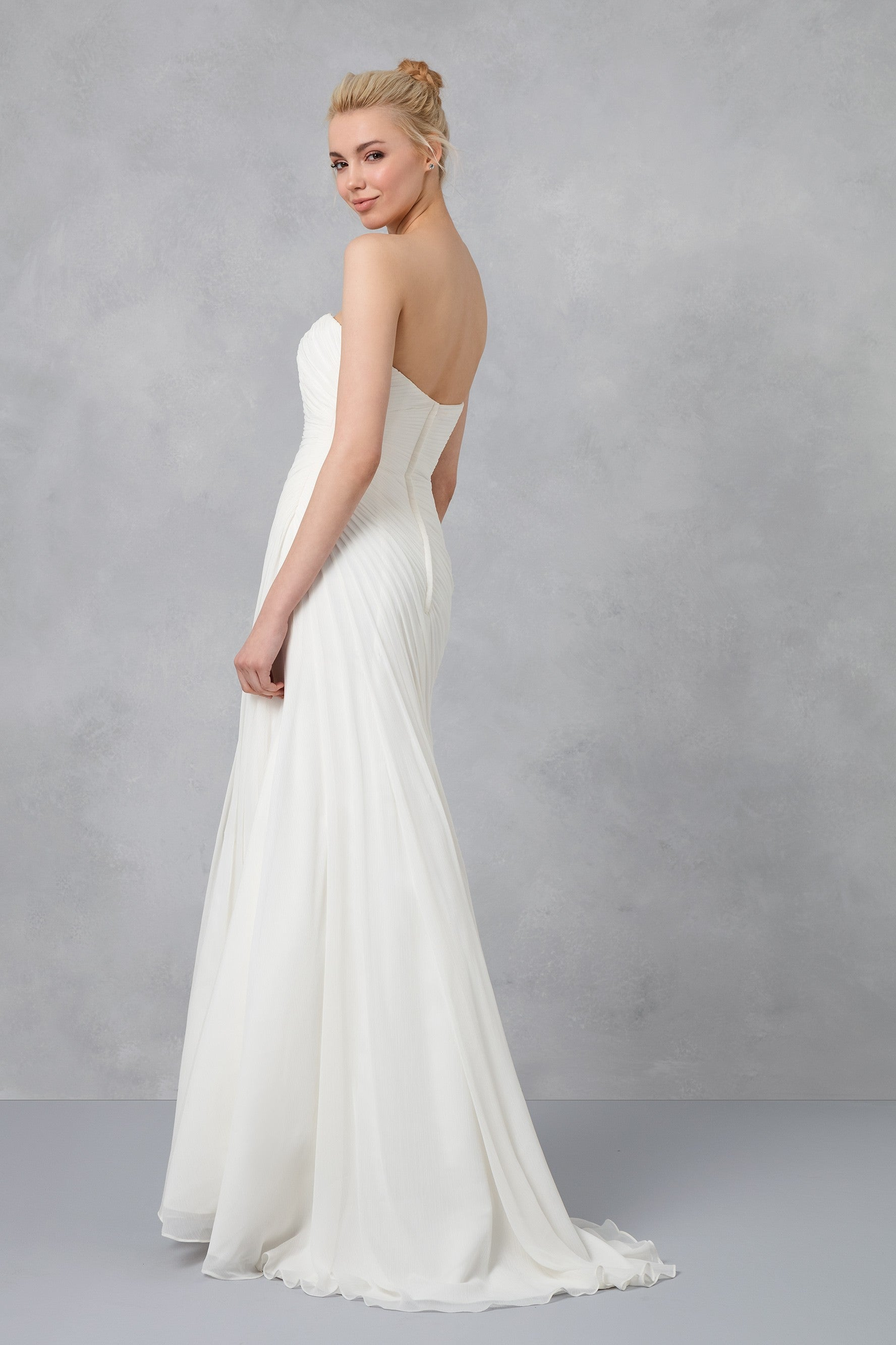 Crinkle Chiffon Wedding Dress with Draping-V3540