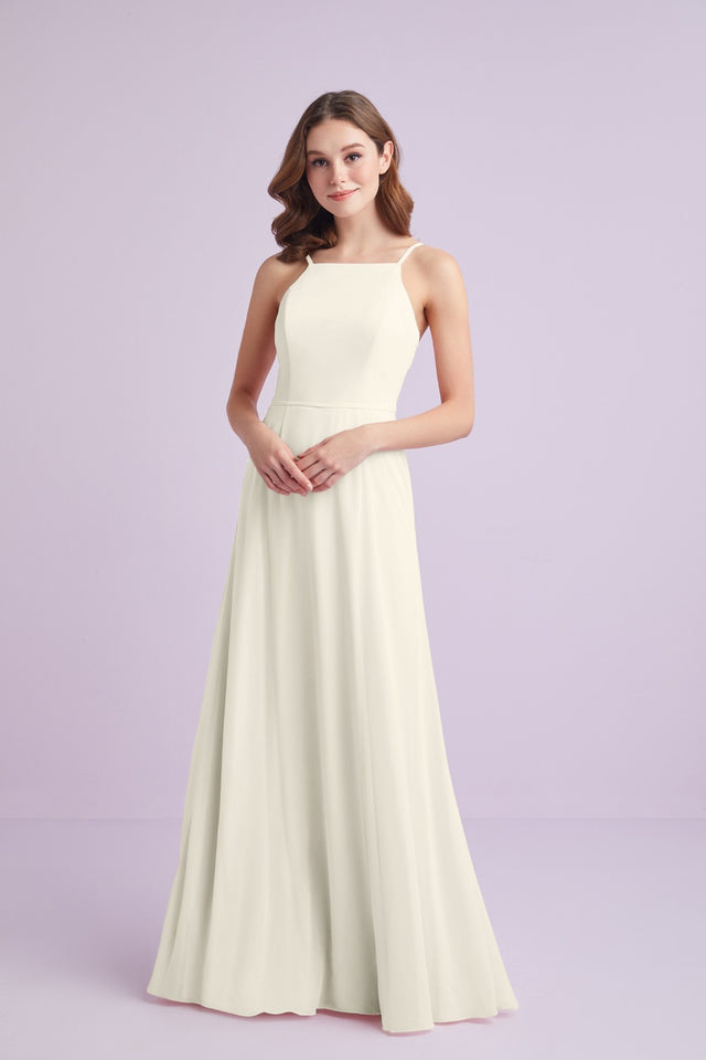 Chiffon High-Neck Bridesmaid Dress