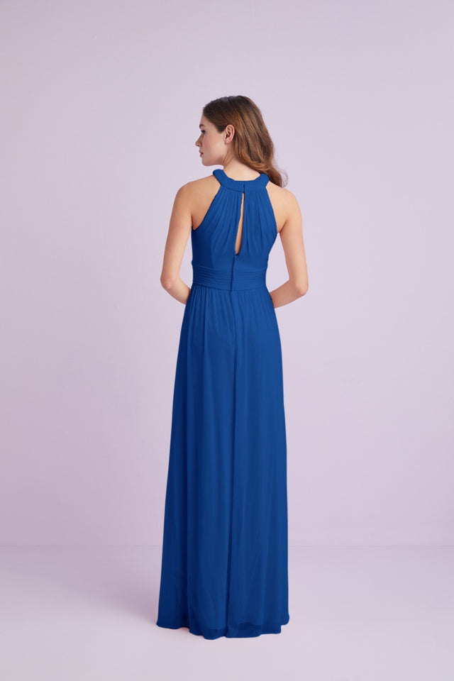 Crisscross High-Neck Mesh Bridesmaid Dress