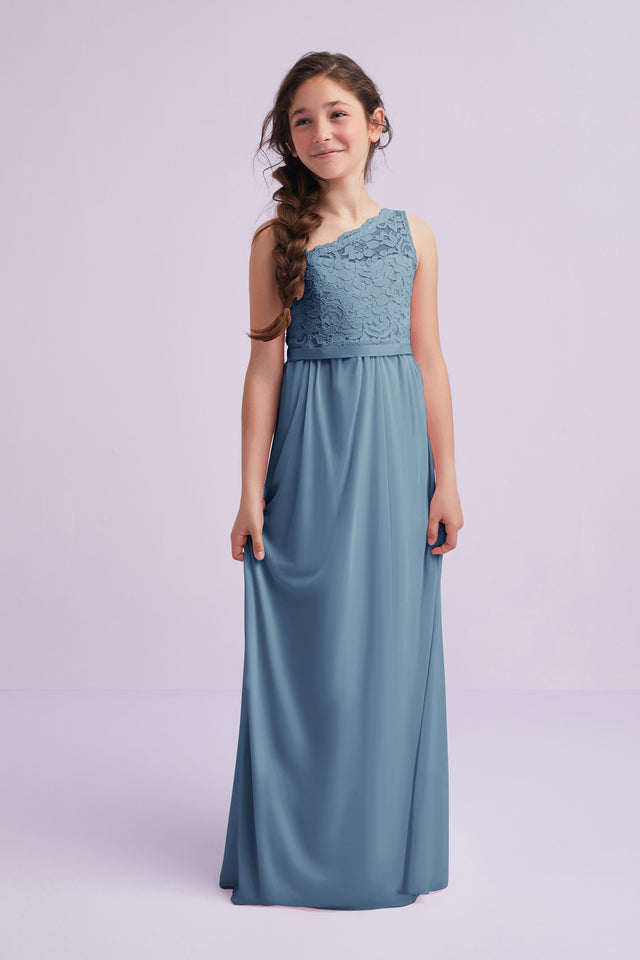One Shoulder Long Lace Bodice Dress