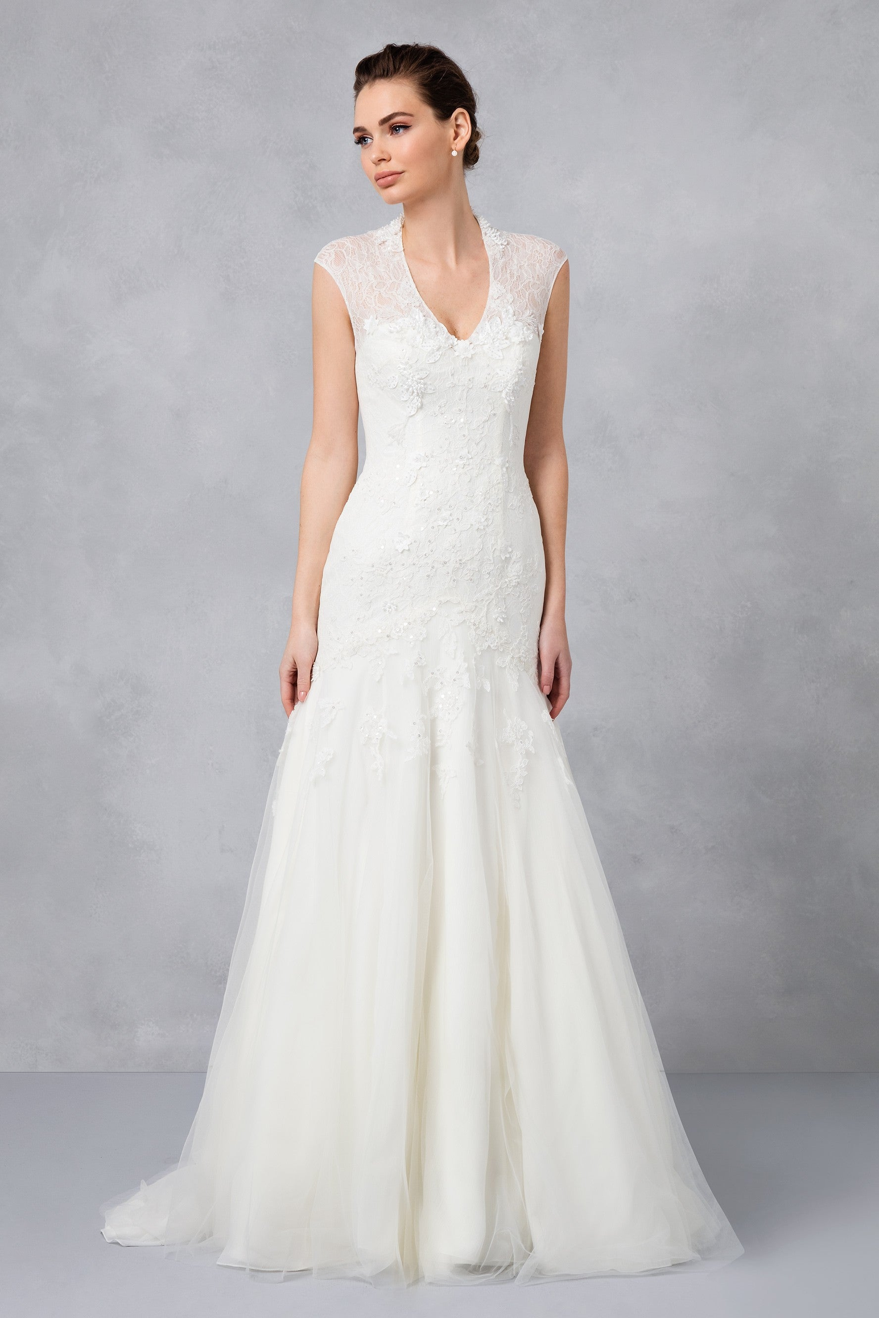 Cap Sleeve Lace Wedding Dress-MS251005