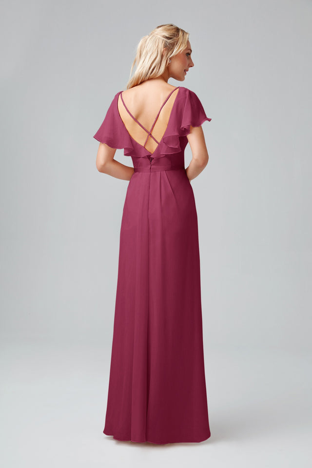 Buy Flutter Sleeve Crinkle Chiffon Bridesmaid Dress By