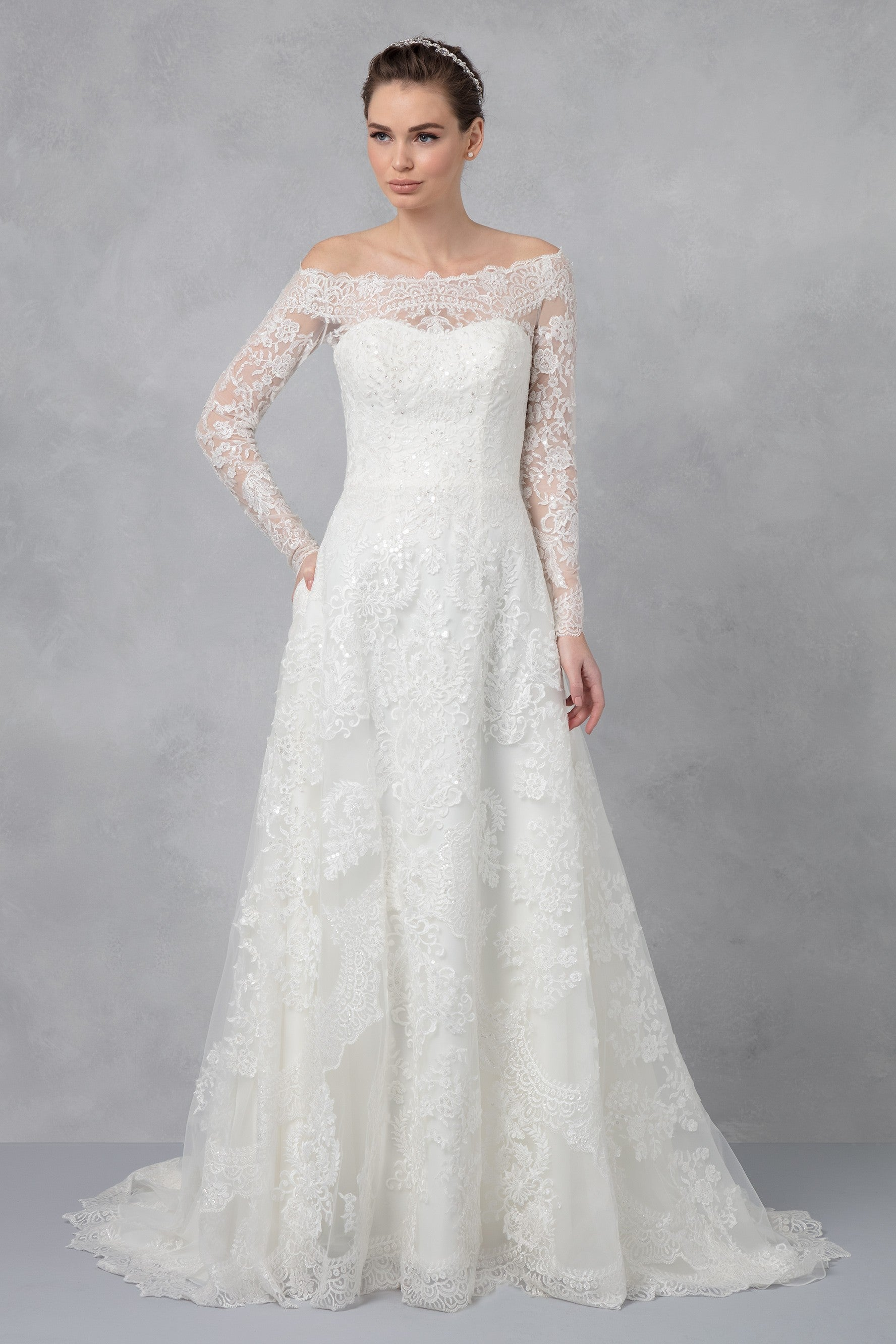 Off-The-Shoulder Lace A-Line Wedding Dress-CWG765