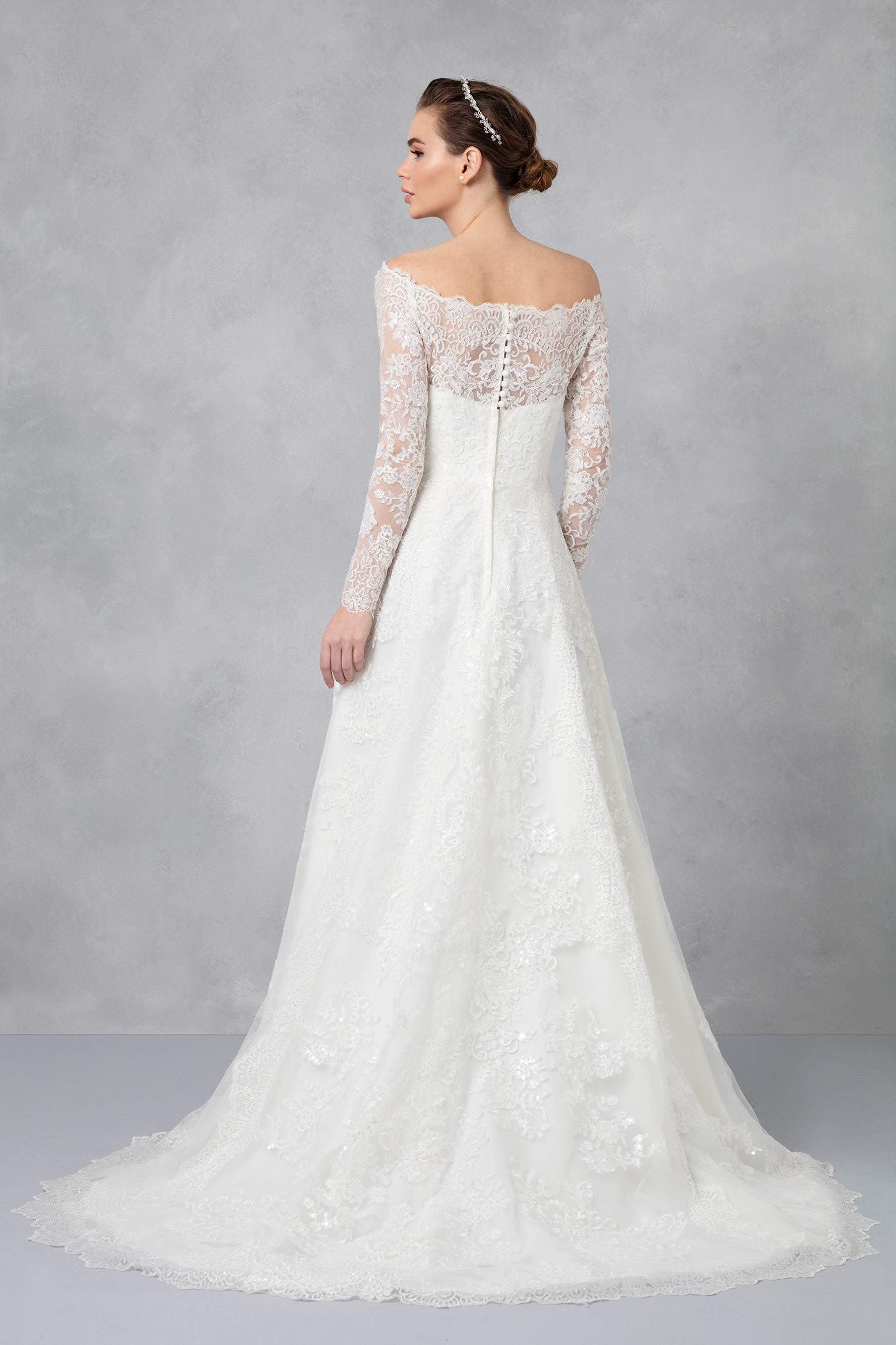Off the shoulder lace a line wedding dress cwg765 junglespirit Image collections