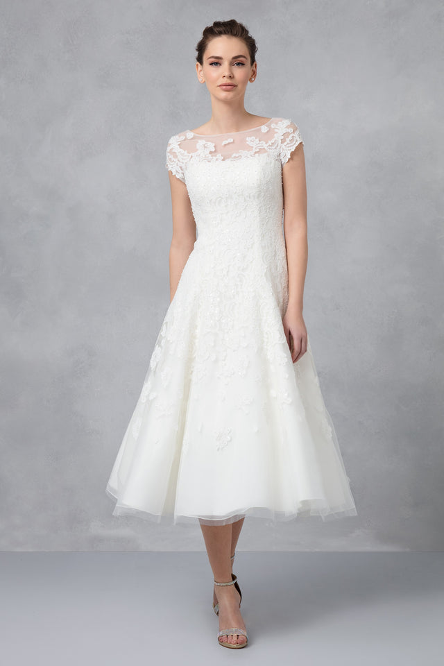 Cap Sleeve Illusion Wedding Dress