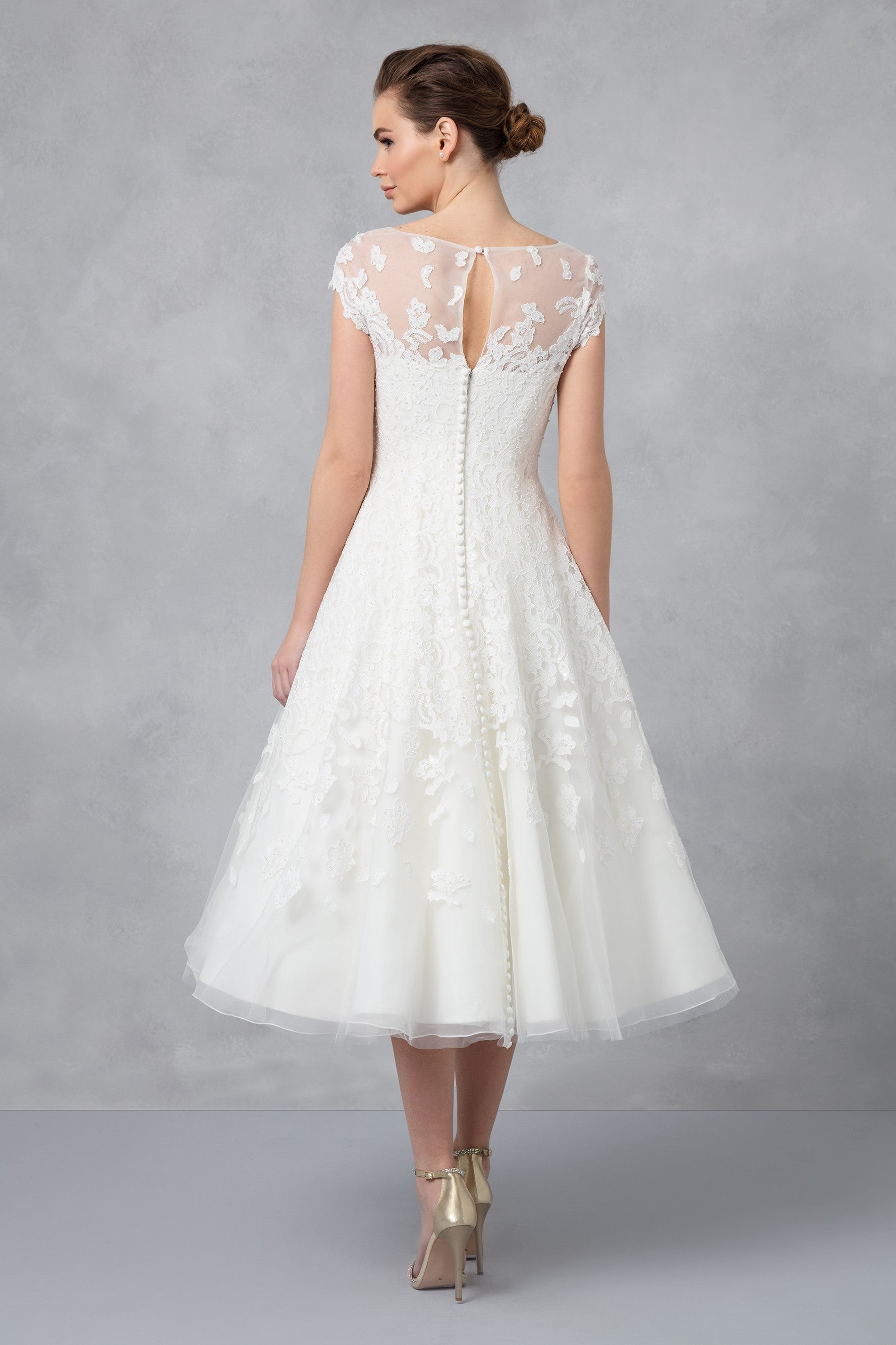 Cap Sleeve Illusion Wedding Dress Cmk513