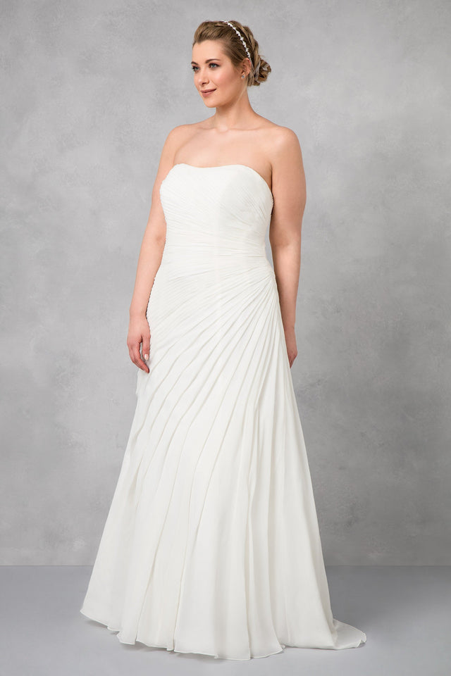 Crinkle Chiffon Wedding Dress with Draping