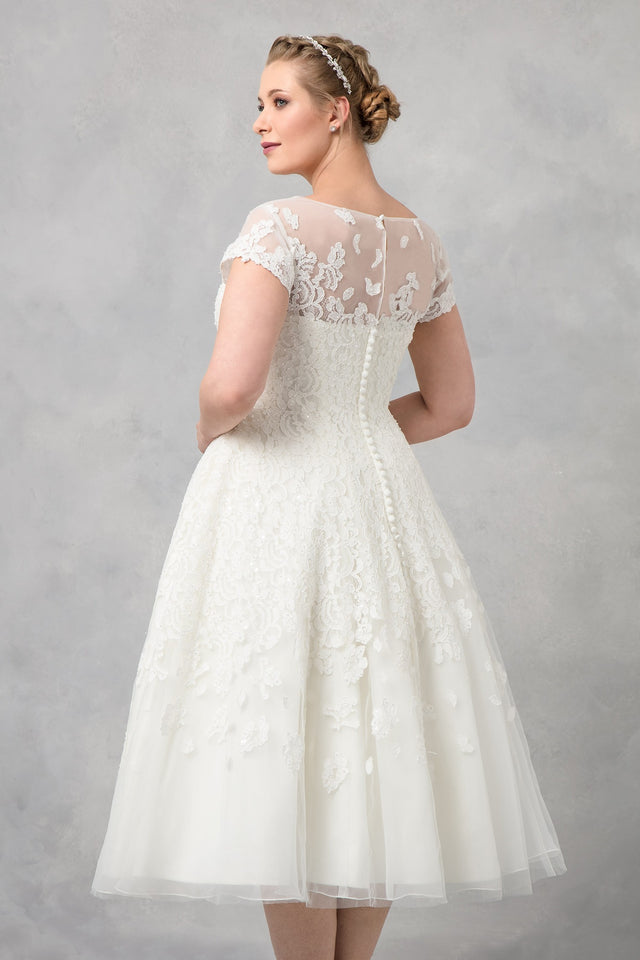 Oleg Cassini Cap Sleeve Tea Length Wedding Dress