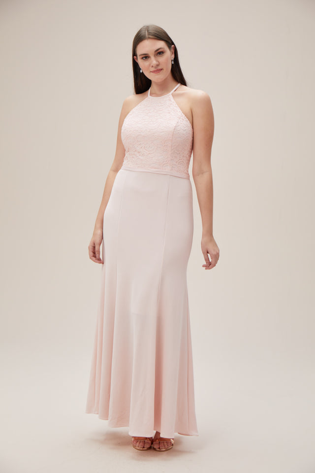Lace and Stretch Crepe High-Neck Bridesmaid Dress