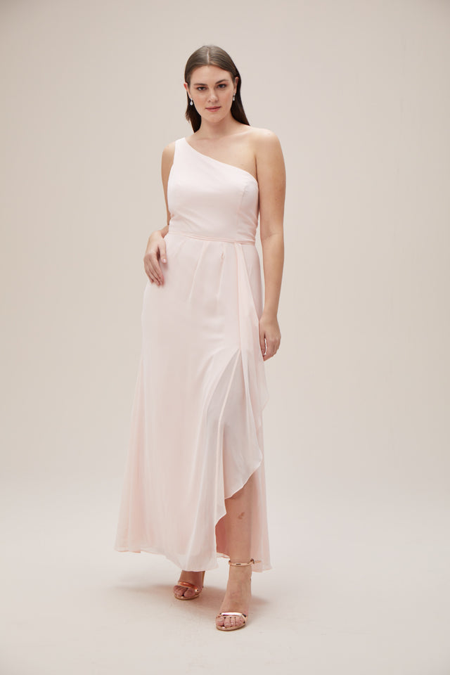 One-Shoulder Chiffon Bridesmaid Dress with Cascade