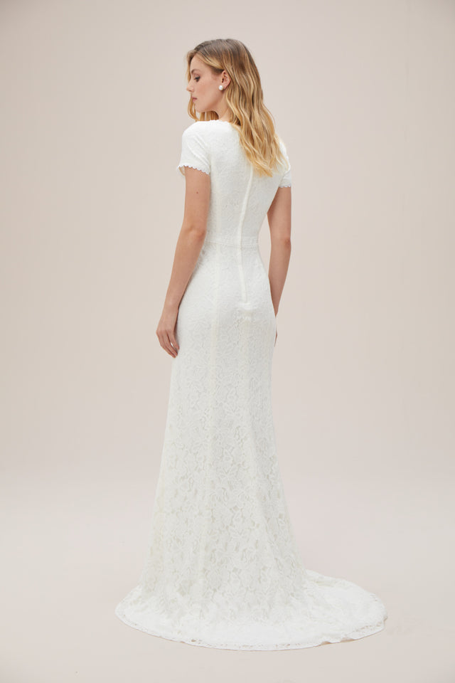 Illusion Deep V-Neck Cap Sleeve Lace Wedding Dress