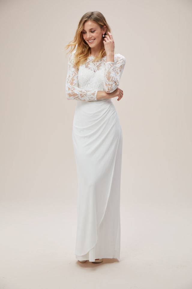 Off-the-Shoulder Long Sleeve Lace Draped Gown
