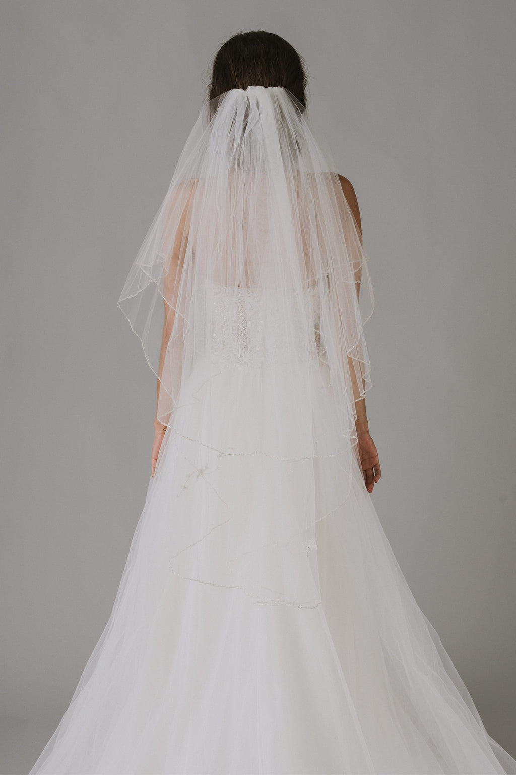 Two Tiered Veil with Beaded Metallic Edging-image