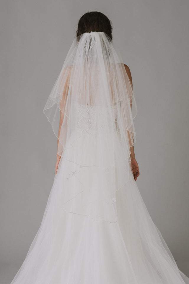 Two Tiered Veil with Beaded Metallic Edging