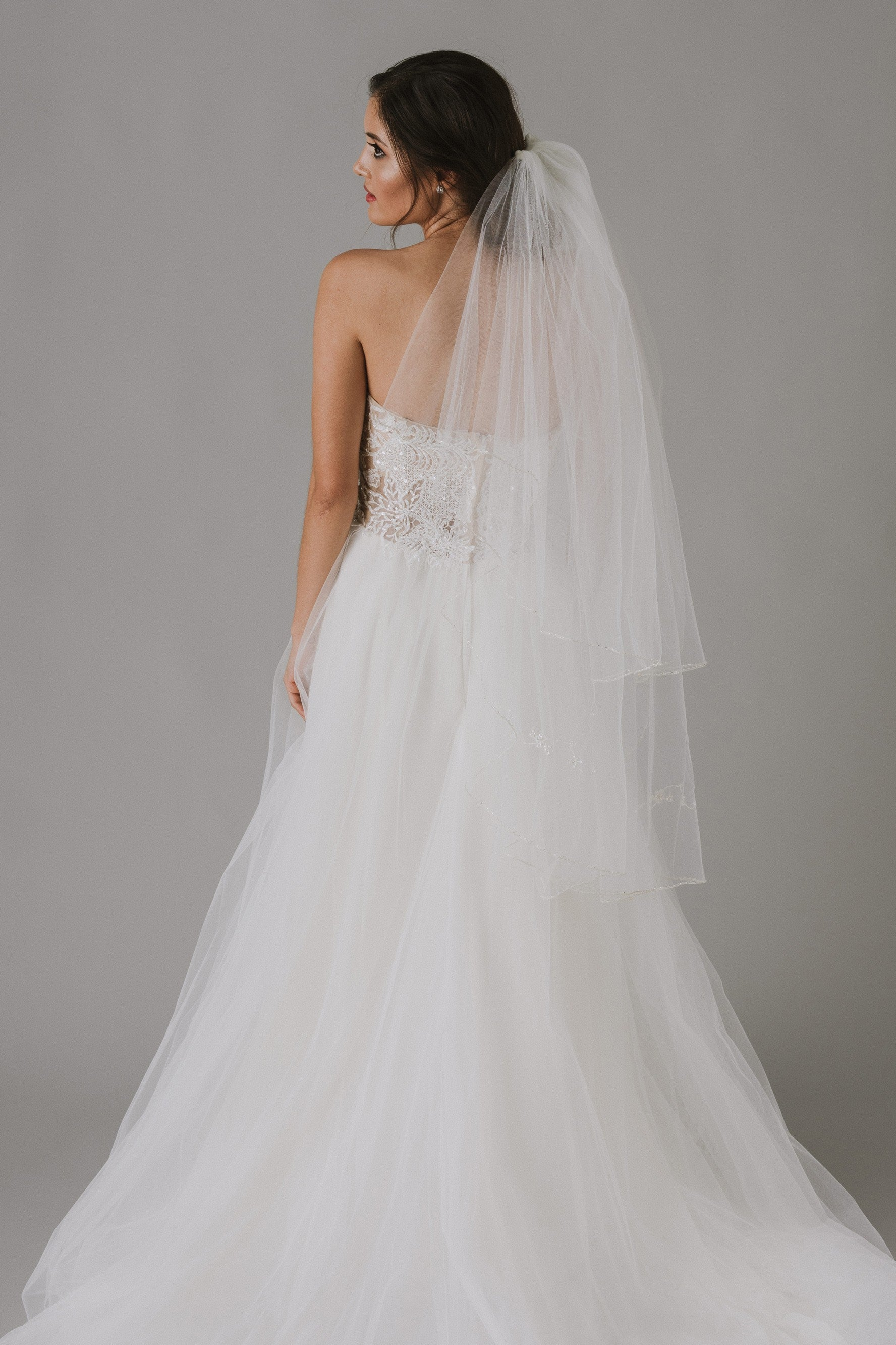 Two Tiered Veil with Beaded Metallic Edging-VCT258S
