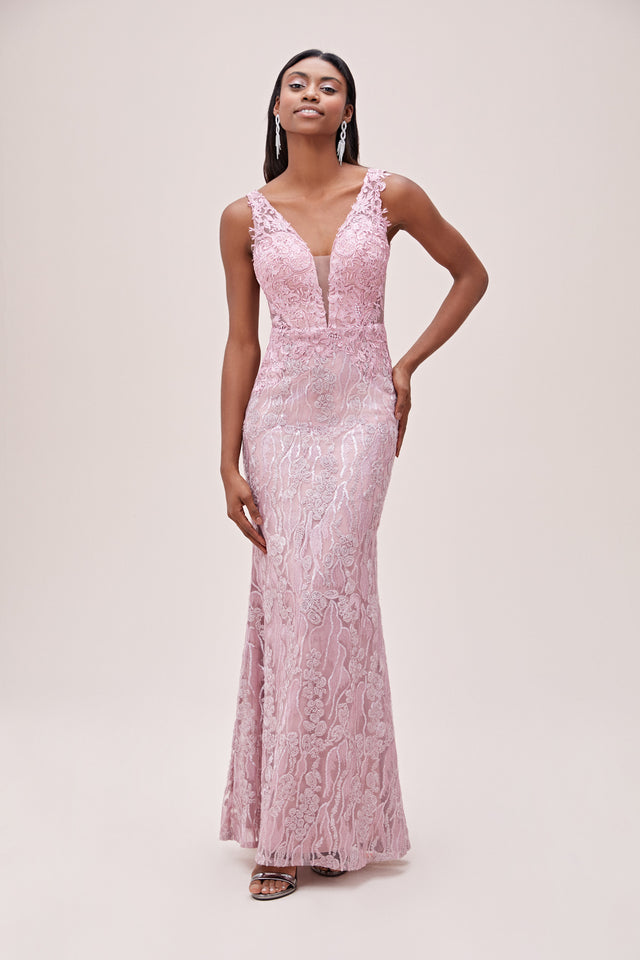 V-neck Detailed Mermaid Silhouette Formal Gown