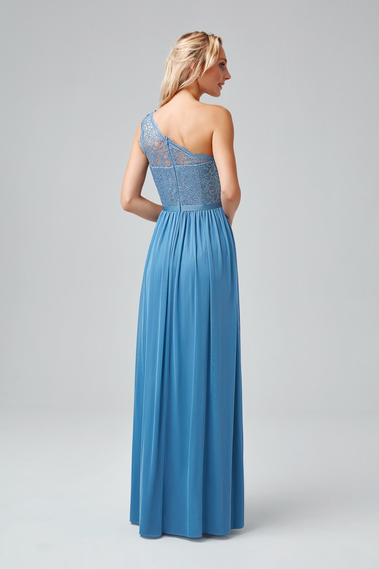 Long One Shoulder Metallic Lace and Mesh Dress-F17063M