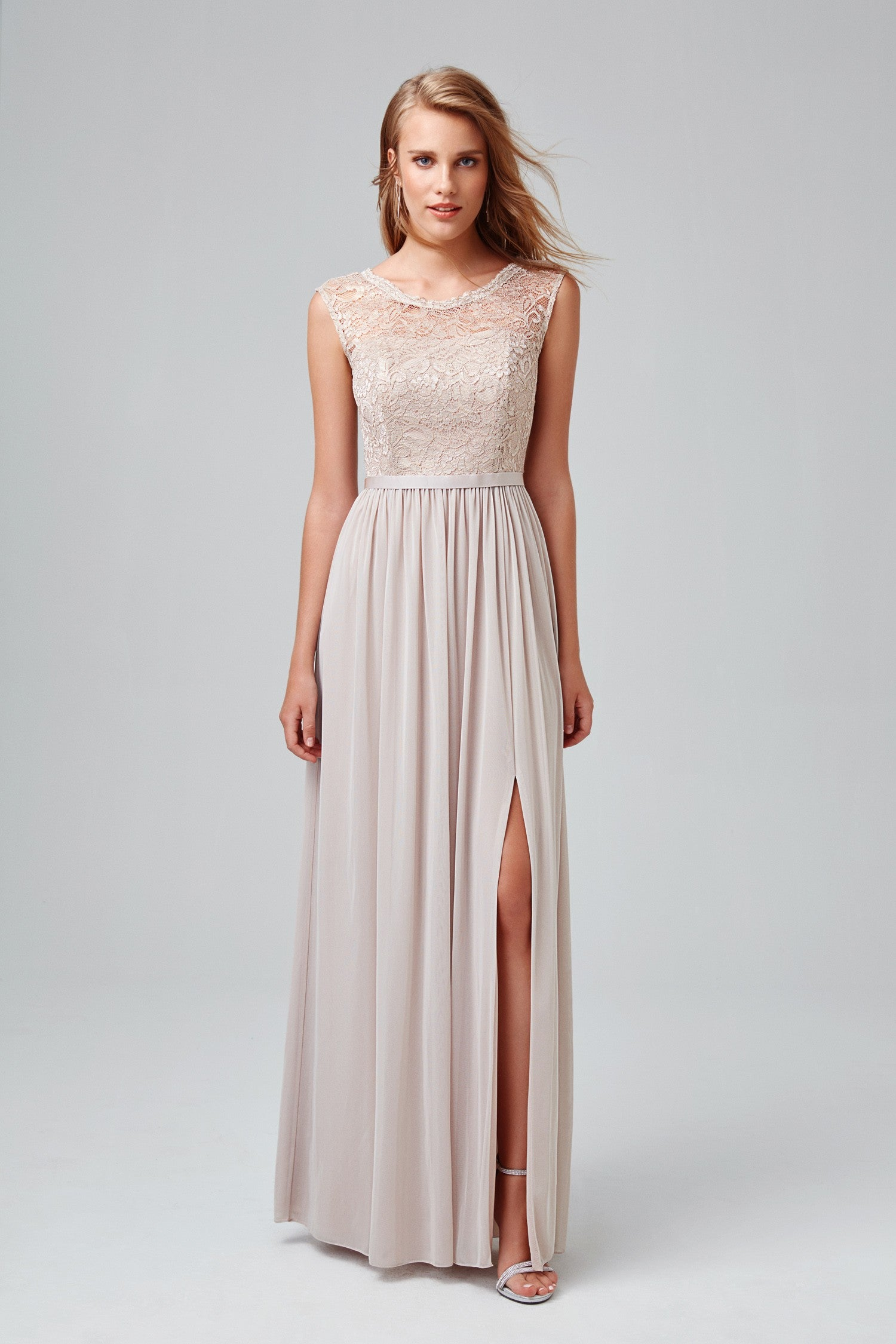 Long Bridesmaid Dress with Lace Bodice-F19328M