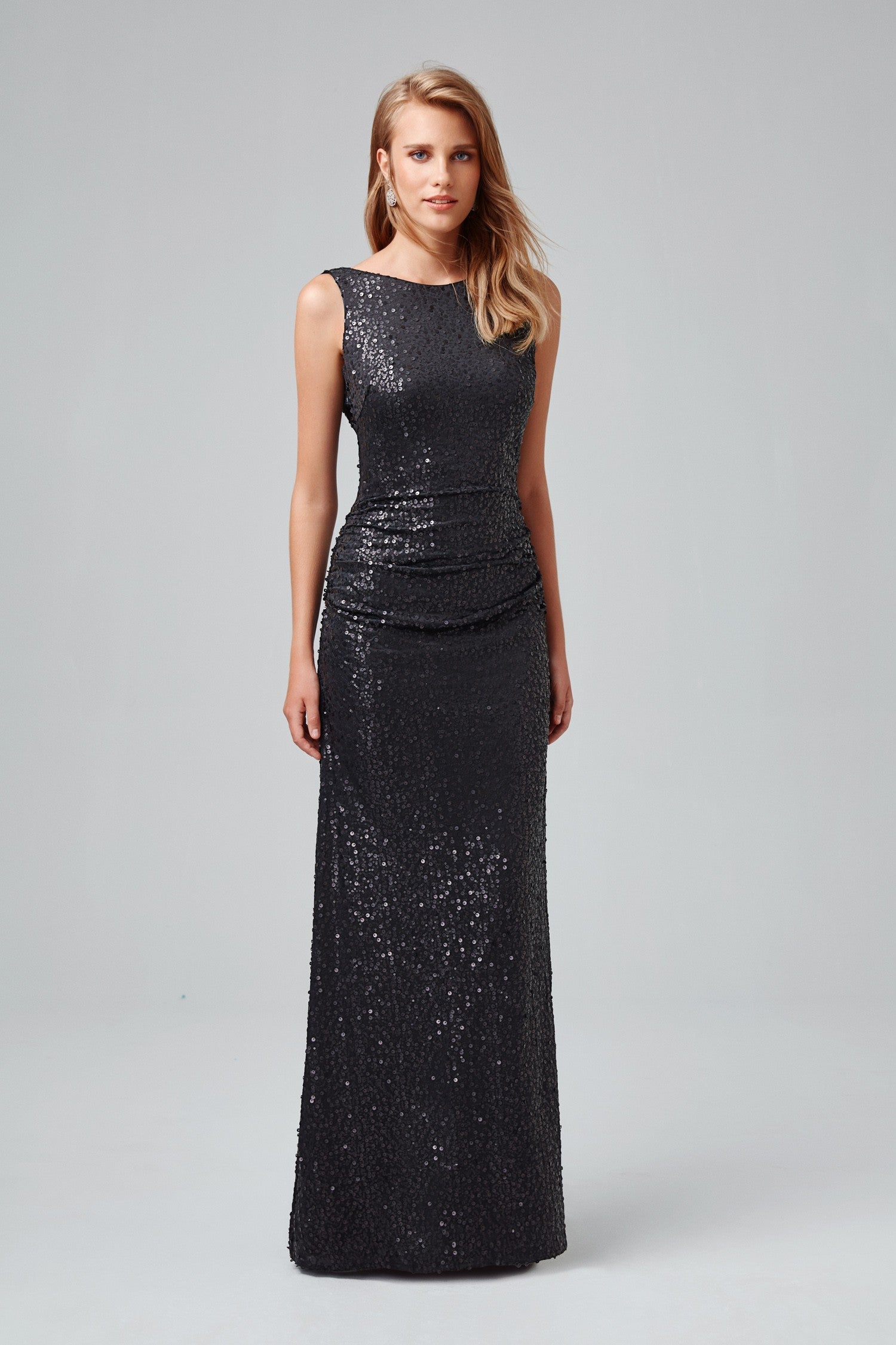 Long Sequin Tank Dress with Cowl Back-F19400